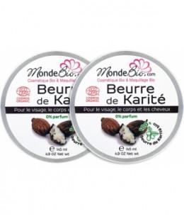 Le Monde du Bio - Beurre de Karité Bio et Pur Lot de 2 2x145ml