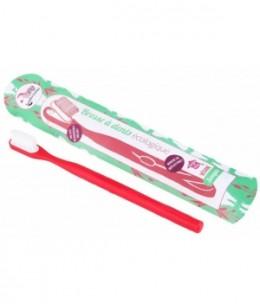 Lamazuna - Brosse à dents écologique rechargeable Rouge Souple 17gr