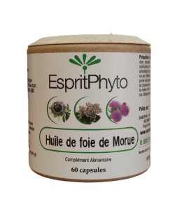 Huile de foie de morue - 60 capsules - EspritPhyto vitamine D immunité