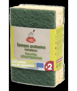 Droguerie Ecologique - 2 Eponges grattantes vertes à récurer en matières recyclees