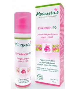 Emulsion 40 à l'huile de Rose musquée - 50 ml - Mosqueta's hydratation et nutrition Espritphyto