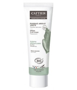 Masque argile verte Romarin et Menthe en tube - 100 ml - Cattier purifie nettoie Espritphyto