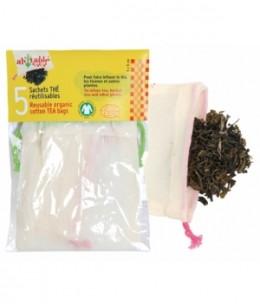 Lot de 5 Sachets thé réutilisables