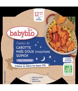 Babybio - Mon Assiette Bonne Nuit Fondue de Carotte Maïs et Quinoa dès 12 mois - 230 gr