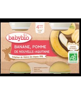 Babybio - Petits pots Pommes Bananes 2X 130gr - dès 4 mois