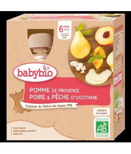 Babybio - Gourdes Pomme Poire Pêche dès 12 mois - 4 gourdes de -90 gr