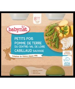 Babybio - Duo Menu Petits Pois Pommes de Terre et Cabillaud - dès 8 mois 2x 200 gr