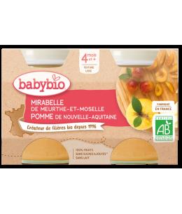 Babybio - Petits pots Mirabelle et Pomme 2x130g - dès 4 mois