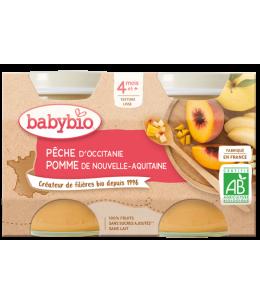 Babybio - Petits pots Pêche Pomme 2X 130gr dès 4 mois