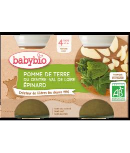 Babybio - Petits pots Pomme de Terre Epinard 2x130gr - dès 4 mois