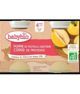 Babybio - Petits pots Pommes Coings 2X 130gr - dès 4 mois