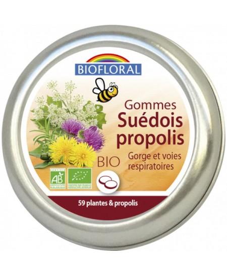 Gommes suédois à la Propolis aux 59 plantes biologiques - 45 gommes - Biofloral gorge respiration Espritphyto