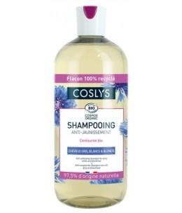 Coslys - Shampooing Anti Jaunissement cheveux gris blancs blonds - 500ml petite centaurée Esprit phyto