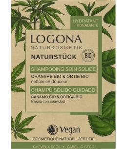 Logona - Shampooing soin solide chanvre Ortie Bio 60 gr cheveux normaux et secs Vegan Espritphyto