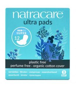 NatraCare - 12 Serviettes Hygiéniques Bio Ultra à Ailettes - Super