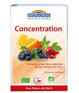 Infusion Elixir Concentration Vitalité Energie - 20 sachets - Biofloral mental renforcé Espritphyto