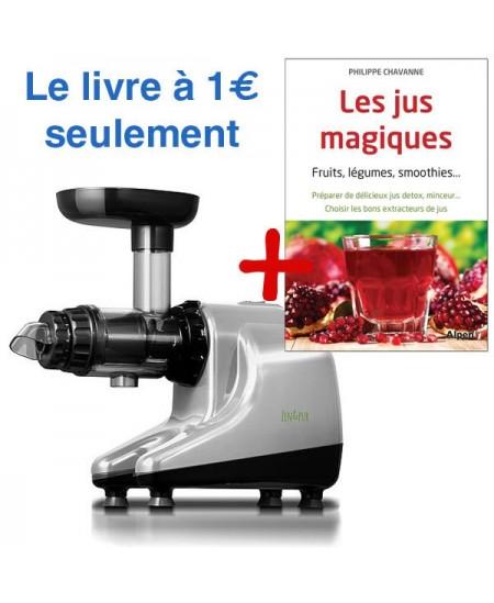 """Pack extracteur de jus Vital Juicer 3 gris métal + Le livre """"Les jus magiques"""""""