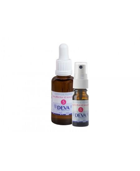 Deva - Spray Composé Floral Bio - Vie Affective et Sexualité N° 5 - 10 Ml
