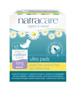 NatraCare - 10 Serviettes Hygiéniques Bio Ultra à Ailettes - Long
