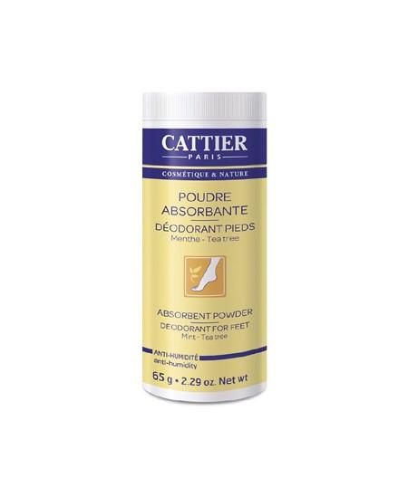 Cattier - Poudre absorbante déodorant pieds Menthe Tea Tree naturelle - 65 gr