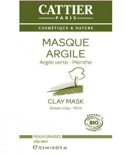 Cattier - Masque Argile verte Romarin et Menthe sachet unidose - 12,5 ml