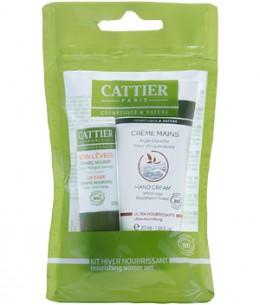 Cattier - Kit Hiver Nourrissant : Crème Mains Ultra nourrissante 30ml + Soin des Lèvres 4 gr
