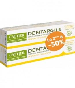 Cattier - Lot de 2 Dentargile reminéralisant au Citron gencives irritées - 150 g