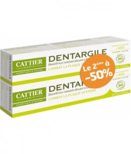 Cattier - Lot de 2 Dentargile reminéralisant à l'Anis anti tartre - 150g