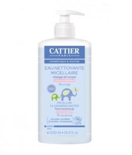 Cattier - Eau nettoyante micellaire bébé Amande douce et Calendula - 500 ml