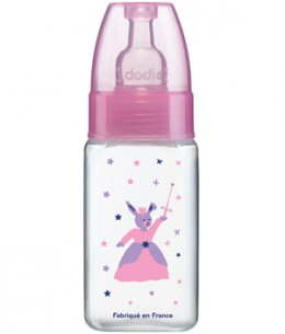 Dodie - Biberon Rose Princesse 150ml col étroit tétine 1er âge 3 vitesses