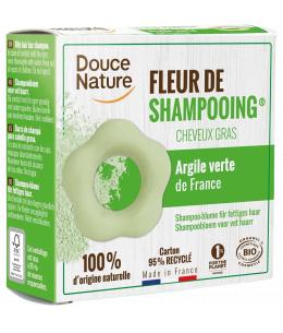 Douce Nature - Fleur de Shampooing solide cheveux gras Ortie Karité Argile verte - 85 gr