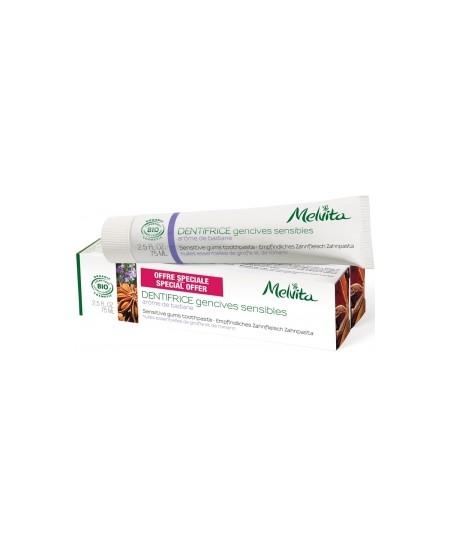 Melvita - Duo Dentifrice Gencives sensibles Arôme Badiane Sauge Girofle Romarin - 2x75 ml