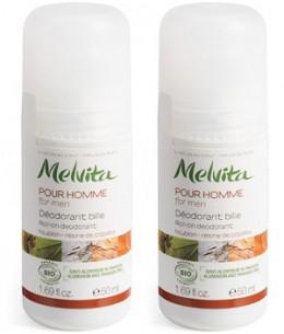 Melvita - Duo Déodorant homme frais bille Houblon Résine de Copaïba - 2x50 ml