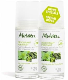 Melvita - Duo Déodorant Bille 24h purifiant Menthe Poivrée Thym Santal - 2x50 ml