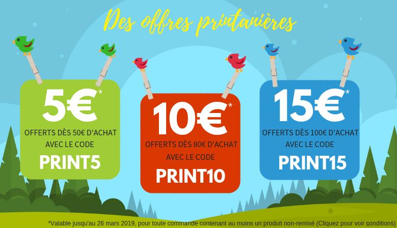 Offre Printemps : 3 bons de réduction 5€, 10€, 15€