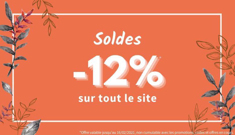 Soldes d'Hiver : 12% de réduction sur tout le site